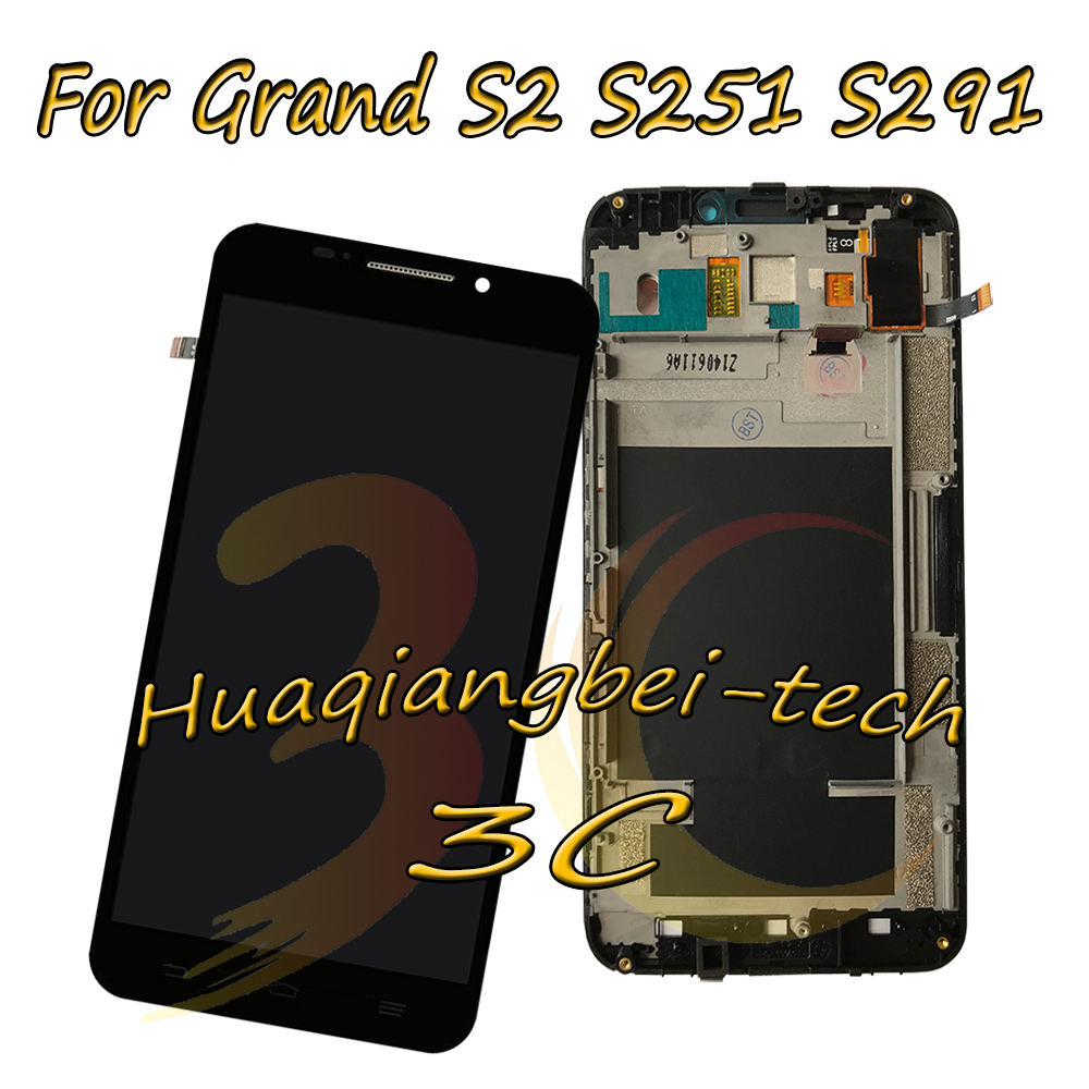 5.5'' New For ZTE Grand S2 S 2 II S251 S291 S252 S221 Full LCD DIsplay + Touch Screen Digitizer Assembly With Frame 100% Tested