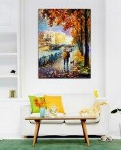 pintado a mano de arte hermoso de la pared parque paisaje paleta de colores imagen lona sin marco arte mural para home office decoracin de la pared