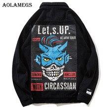 Aolamegs джинсовая куртка мужская классная печатная дыра ковбойская мужская куртка Повседневная Высокая уличная модная верхняя одежда мужская куртка уличная осень