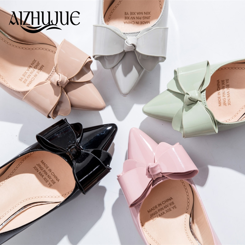 Women Bow Tie Pumps Butterfly Pointed Toe OL Office Shoes Woman High Heels Black Pink Light Green Khaki Gray Dress Lady Shoes sagace women ladies roman shoes buckles wedges ankle strap sandals sexy open toe peep toe sandals woman summer sandals may 18