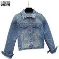 Laisiyi 2017 Senhoras Novas Jaquetas Jeans Brasão Clássicos Casacos Mulheres Moda Jeans Casacos Rebites Feminino Jaquetas Curtas LYCO80021