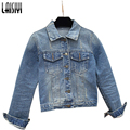 Laisiyi New 2017 Ladies Denim Jackets Outerwear Jeans Coat Classical Jackets Women Fashion Rivets Female Short Jackets LYCO80021