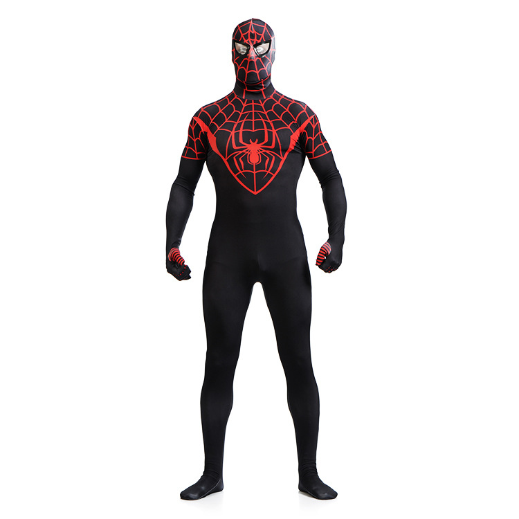 Spiderman Full Body Lycra Zentai Spiderman Costume Cosplay Conjoined Spiderman Costume Kids Black Spiderman Costume Zentai Suit
