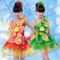 20pcs/lot Free Shipping Stage Performance Ballroom Kids Dance Costumes Children Girls Dancing Dress Clothes Flower Dancewear
