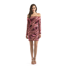 Sexy Sheath Off Shoulder Red Party Dresses Short Sequined Glitter Bodycon Night Club Dress Long Sleeves Appliques Lady Clothing