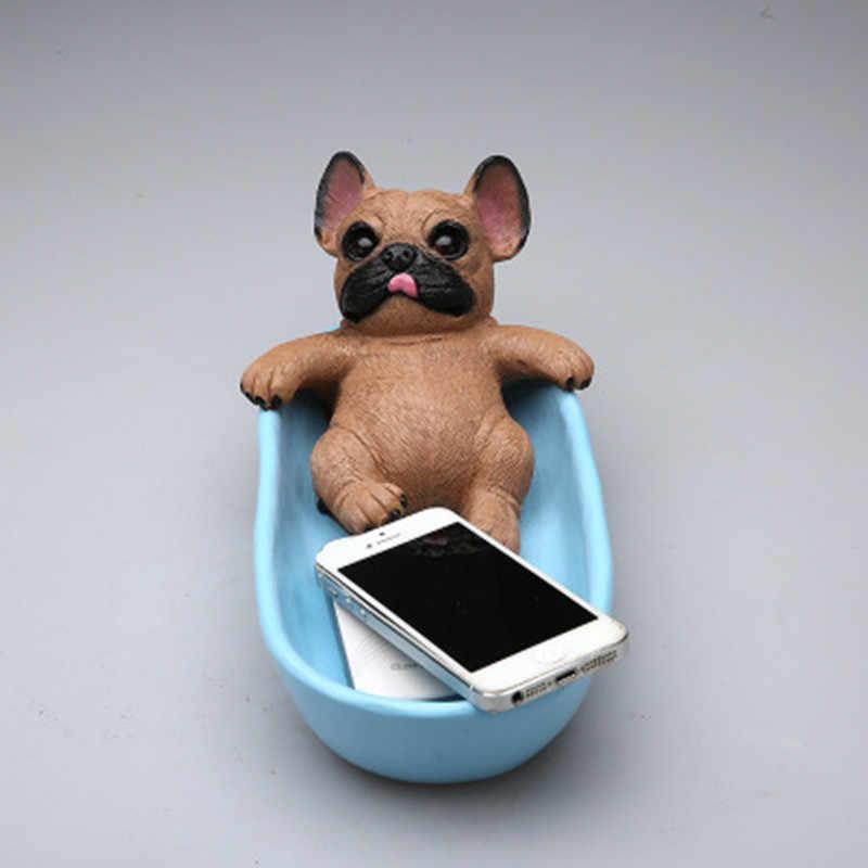 Simulação animal cão modelo canis familia resina pequena estátua 1/6 cães casa decoração de armazenamento bonecas figura ação modelo caixa de brinquedo d403