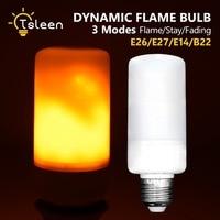 2018 New E27 E26 SMD2835 LED Flame Effect Fire Light Bulbs 5W Flickering Decorative Flame Lamp 1800 2000K AC85V~265V