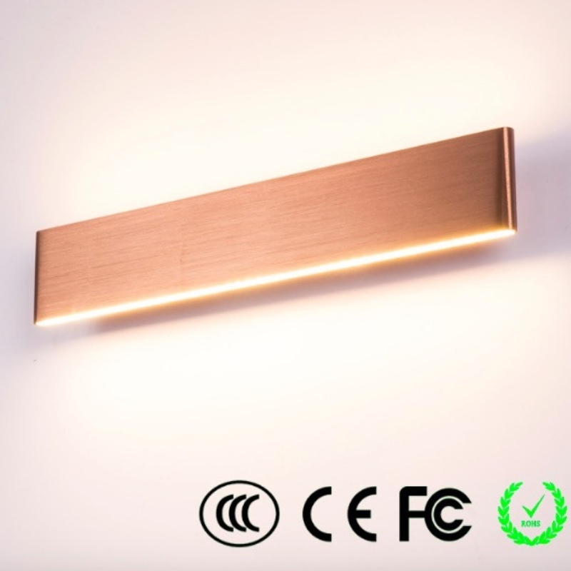 ФОТО Modern Brief Brushed Copper Aliminum Acryl Led Mirror Lamp For Bathroom Living Room Aisle Waterproof Wall Lamp 11/22/26/29/46cm