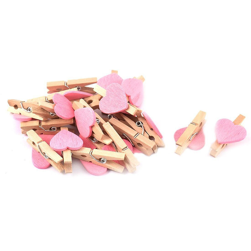 PPYY NEW -Mini Love Heart Shape Wooden Clips Message Photo Holder Album Card Paper Pegs Decor Photography - Pink 20 Pcs