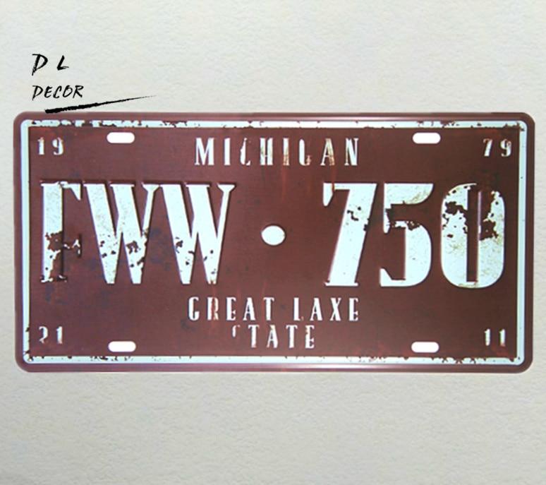 37dbd5683e29 DL-MILHILAN FWW.750 Licence plaque Vintage Garage fer peinture métal tin  Art Affiche