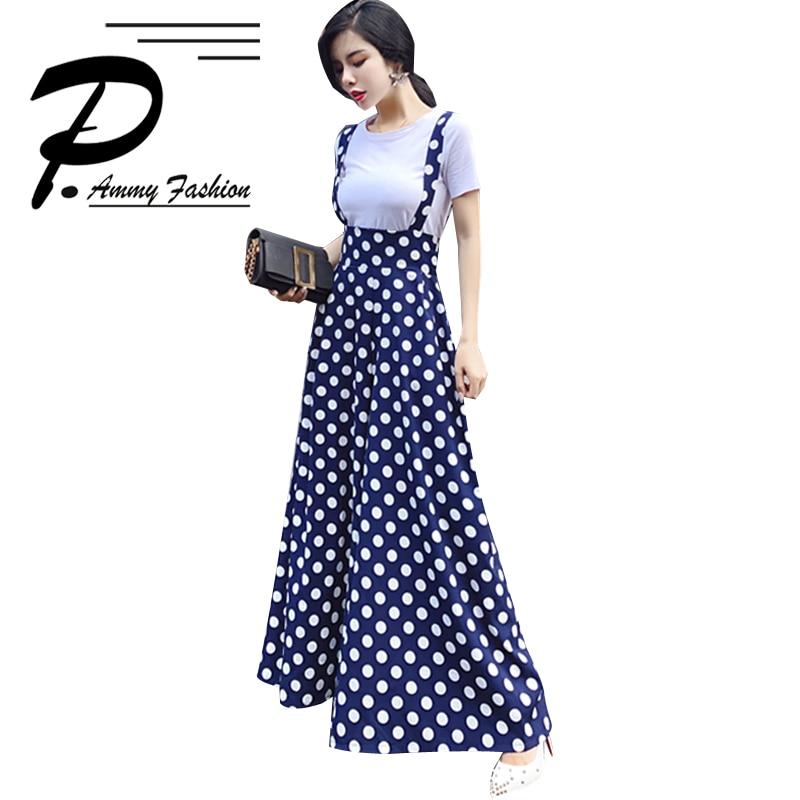 Vintage Plus Size England Style Flare Leg   Jumpsuits   Summer Fashion Dots Wide Leg   Jumpsuits   Skirt