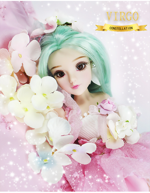 MMG Girl fortune days BJD doll 12 constellations virgo with pink dress shoes stand necklace Flower basket joint body toy gift 2