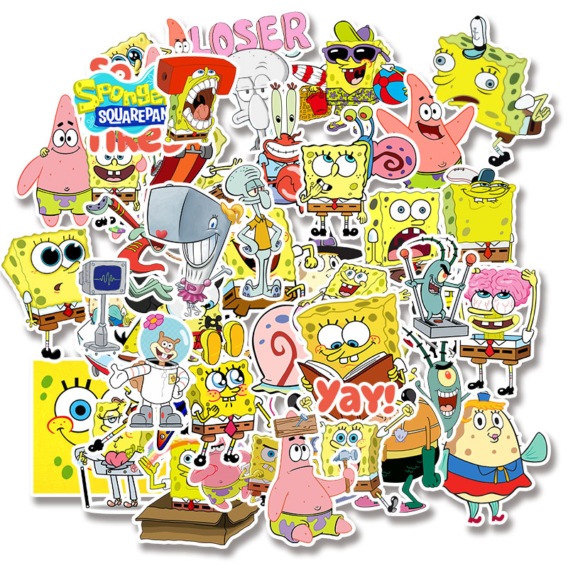 Image 2 - 50pcs/pack Cartoon SpongeBob SquarePants Sticker Waterproof For Mobile Phone Car Moto Laptop Luggage Bicycle Skateboard Decal-in Stickers from Toys & Hobbies
