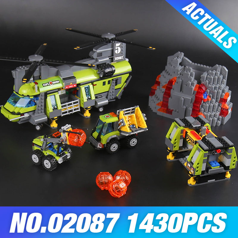 Lepin 02087 The Volcano Heavy-Lift Helicopter Set 1430Pcs City Series 60125 Model Building Blocks Bricks Kits Christmas Gifts hot city volcano heavy lift helicopter building block transporter truck forklift expedition figures bricks 60125 toys for gifts