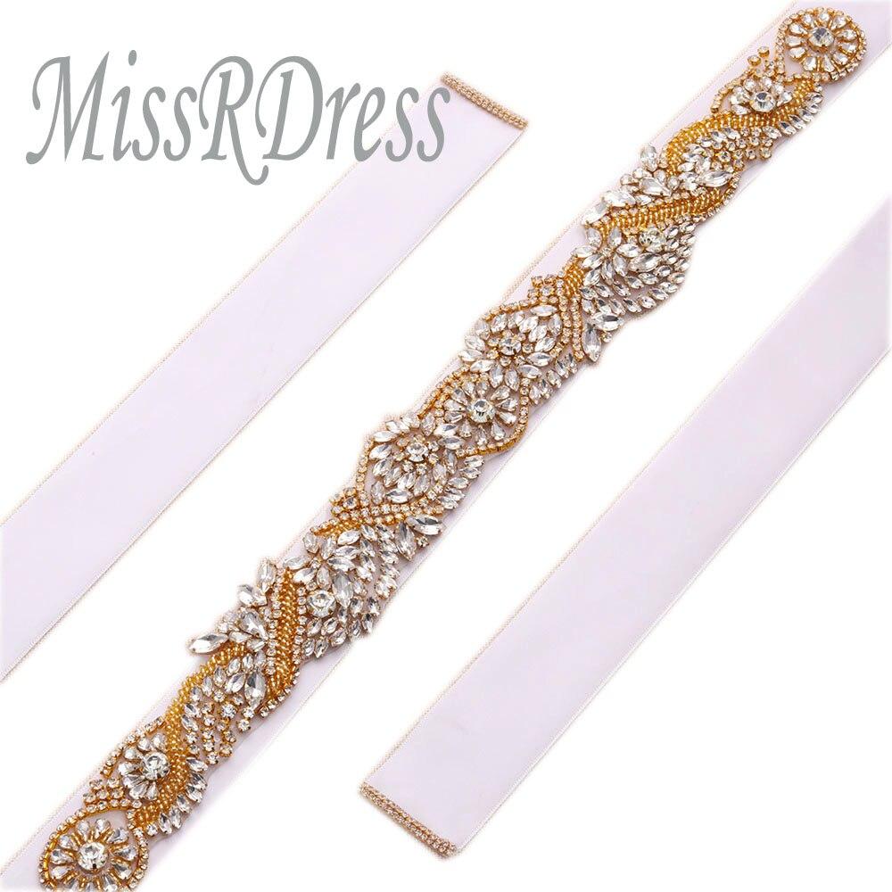 MissRDress Handmade Bridal Belt Crystal Beads Wedding Belt Gold Rhinestones Wedding Dress Sash For Wedding Accessories JK802