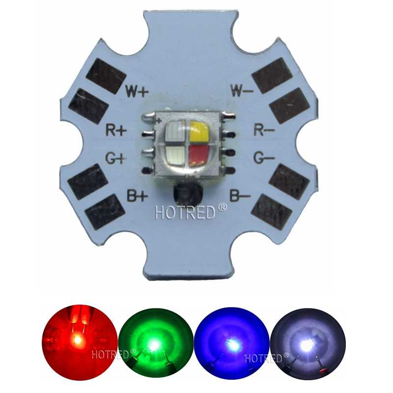 10PCS Cree XLamp XML XM-L RGBW RGB+Cool White Diode 12w 4 chip LED Emitter Bulb Mounted on 20mm Star PCB For Stage Light
