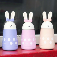 New Stainless Steel Vacuum Flask Thermocup With Coffee Thermos Child 300ml Cute Rabbit Ears Dot Gift
