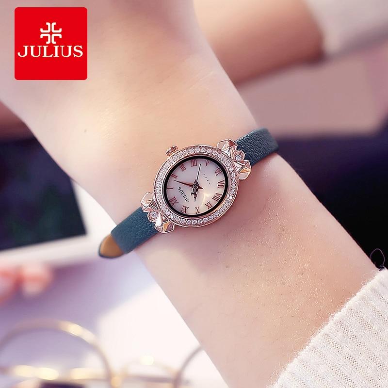 New Julius Lady Women's Wrist Watch Elegant Rhinestone Dress Leather Bracelet Watches Quartz Hours Clock Gift Relogio Feminino все цены