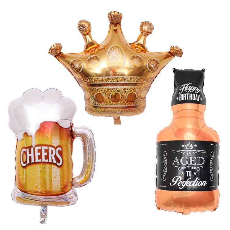 1 pcs Grande copo de Vinho Copo de Champanhe Balões Folha Coroa de Ouro de Presente de Aniversário de Casamento Decoração balões de festa de Aniversário globos