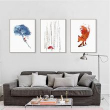 3 Pieces Modern Watercolor Fox Tree Canvas A4 Art Print Poster Cute Animal Wall Picture Kids Room Home Decor Paintings No Frame(China)