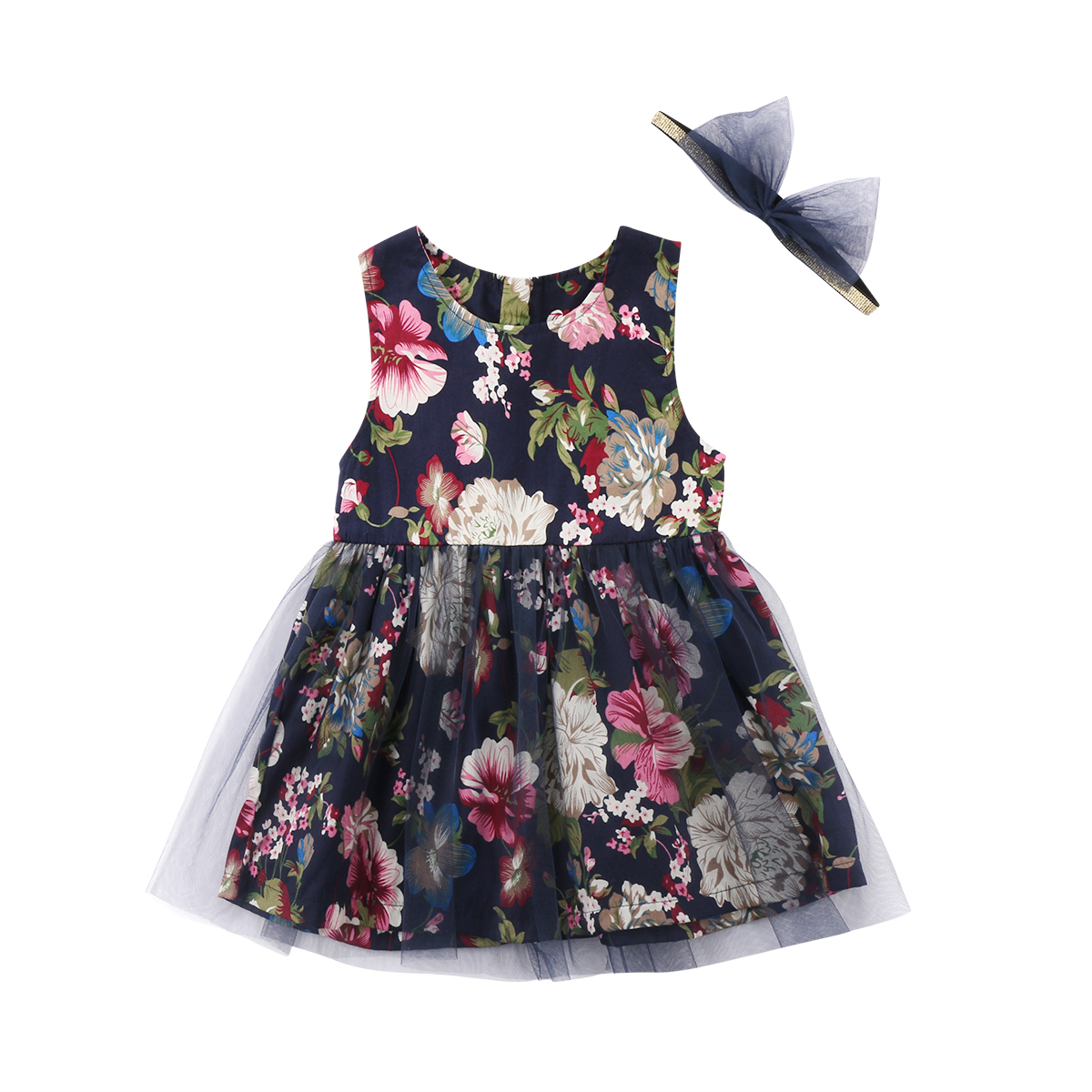 Sleeveless Toddler Baby Kids Girls Clothing Dresses Summer Floral Tulle Party Dress Sundress Clothes Girl 6M-4T ruffles baby girl back cross dresses infant toddler girls sleeveless brown summer princess dress sundress clothes