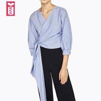 Creative Autumn 2017 Cotton Striped Bow Shirt Blouse Female V Neck Tees Blusas Formal Vestidos Women