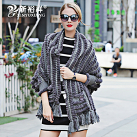 women Real Mink fur Scarf cashmere long Warm blankets Capes stole shawl Ponchos tassel Oblong scarves knit outwear for female