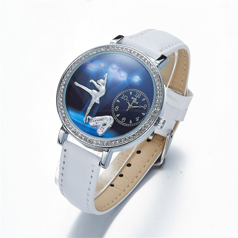 Miss Keke New 3d Clay Cute Mini World Ballet Gir Women Watches Relogio Feminino Ladies Fashion Leather Wristwatches 641