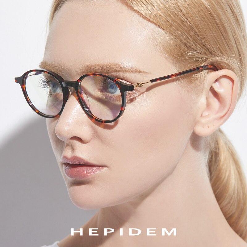 213d4d6720 Acetato de gafas de Marco de las mujeres de los hombres ronda anteojos  recetados Retro Vintage sin tornillos miopía marcos ópticos gafas