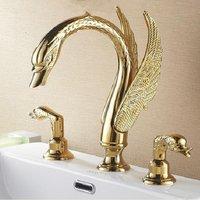 Luxury European style art three hole basin mixer bath faucet swan faucet mixer tap Vintage golden sink tap