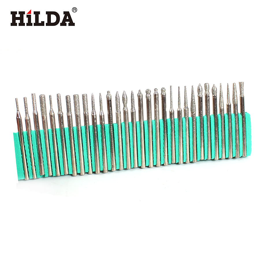 HILDA 30pcs Diamond Burr Bits Set For Dremel Rotary Tools 1/8
