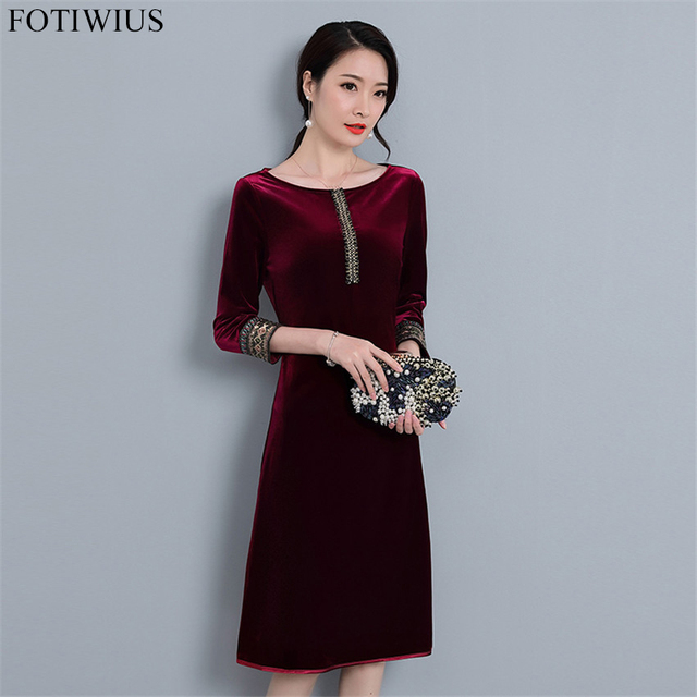 95226cfd27 Autumn Winter Velvet Dress Women Plus Size Dresses Elegant Vintage  Embroidery Sequined Velvet Dress With Sleeves Robe Femme Ete