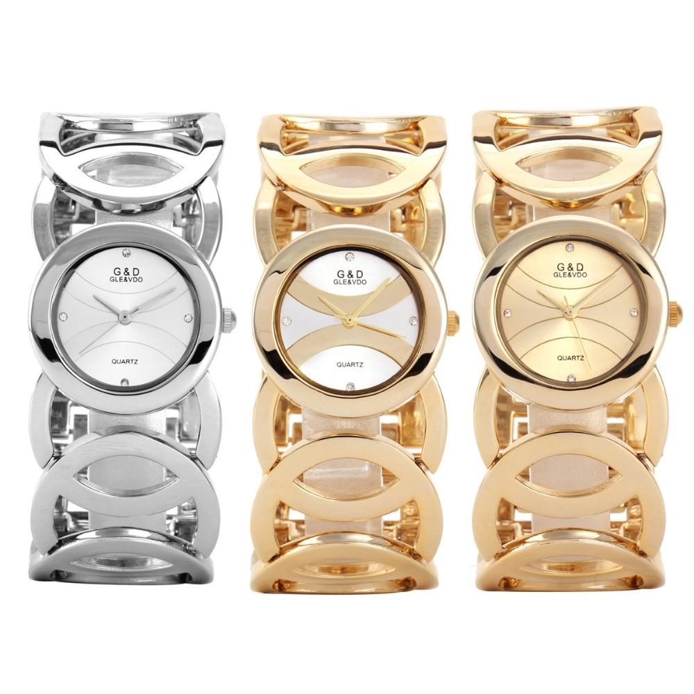 G & D merk dameshorloges 2017 gouden luxe armband horloge damesmode - Dameshorloges - Foto 6