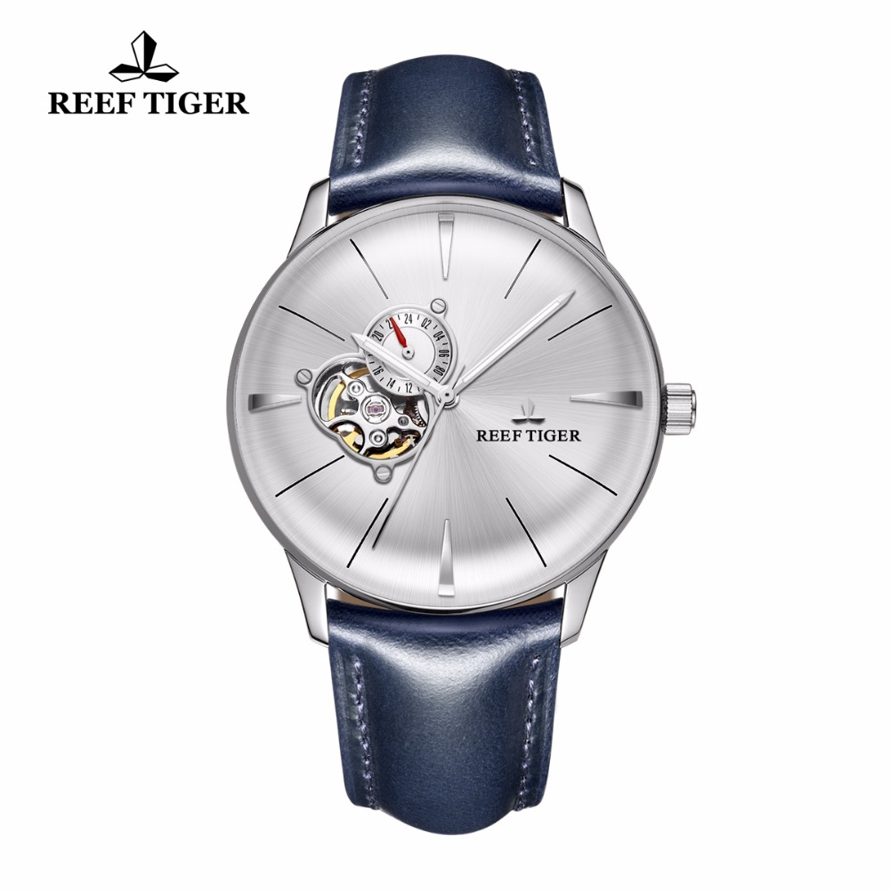 New Reef Tiger/RT Dress Watches for Men Convex Lens Glass Tourbillon Automatic Watches Blue Leather Steel Watch RGA8239 yn e3 rt ttl radio trigger speedlite transmitter as st e3 rt for canon 600ex rt new arrival