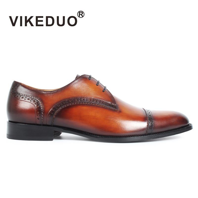 VIKEDUO Handmade Vintage Mens Derby Shoes Brown Genuine Leather Custom Party Dance Dress Office Wedding Shoes Original Design 2017 vintage retro custom men flat hot sale real mens oxford shoes dress wedding party genuine leather shoes original design