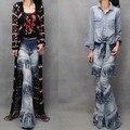 Женская мода личности-биг-хорн джинсовые брюки 2015 Осень градиент цвета кисточкой shuimo мотоцикл джинсы светло-синие брюки