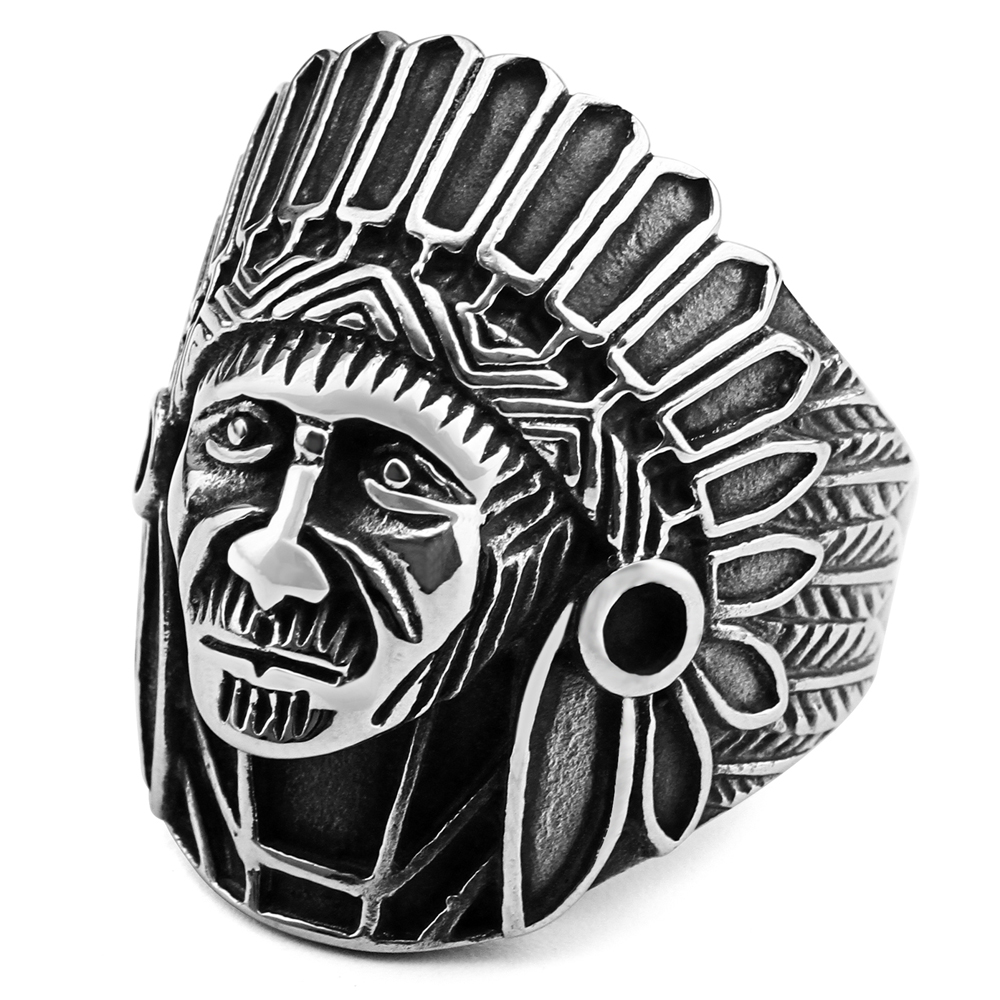 (12 PCS/LOT) Mimeng Retro Indian Head Titanium Ring Punk Style Ring Exaggerate Men Jewelry