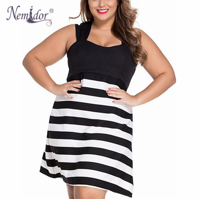 Nemidor Hot Sales Women Casual A line Black White Striped Dress ...