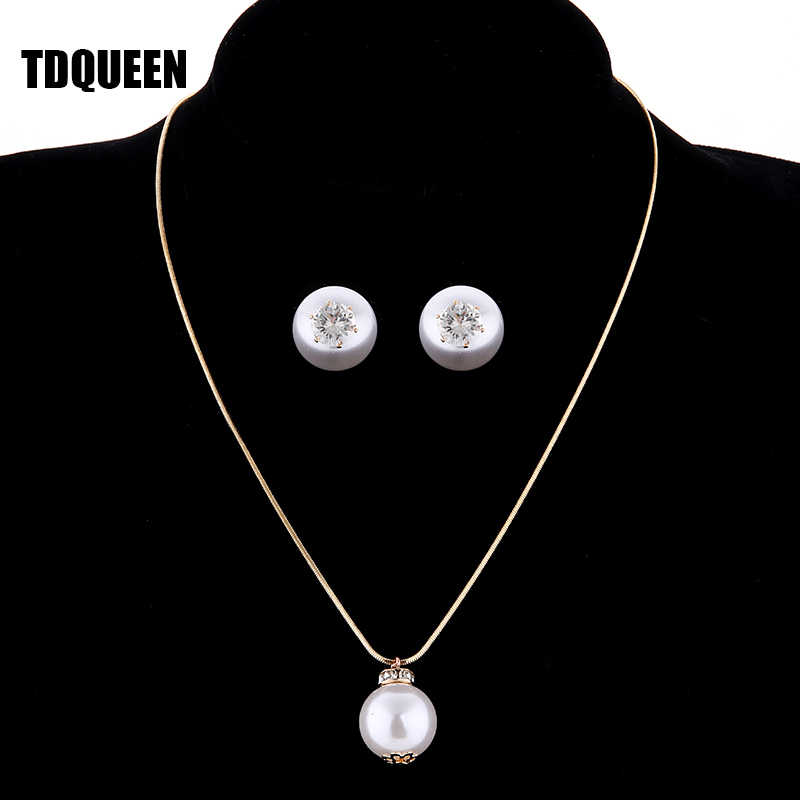 TDQUEEN Simulated Pearl Jewelry Sets Gold Color Big Round Pearl Wedding Necklace and Earrings Sets Party Accessories for Women