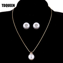 TDQUEEN Simulated Pearl Jewelry Sets Gold Color Big Round Pearl Wedding Necklace and Earrings Sets Party Accessories for Women(China)