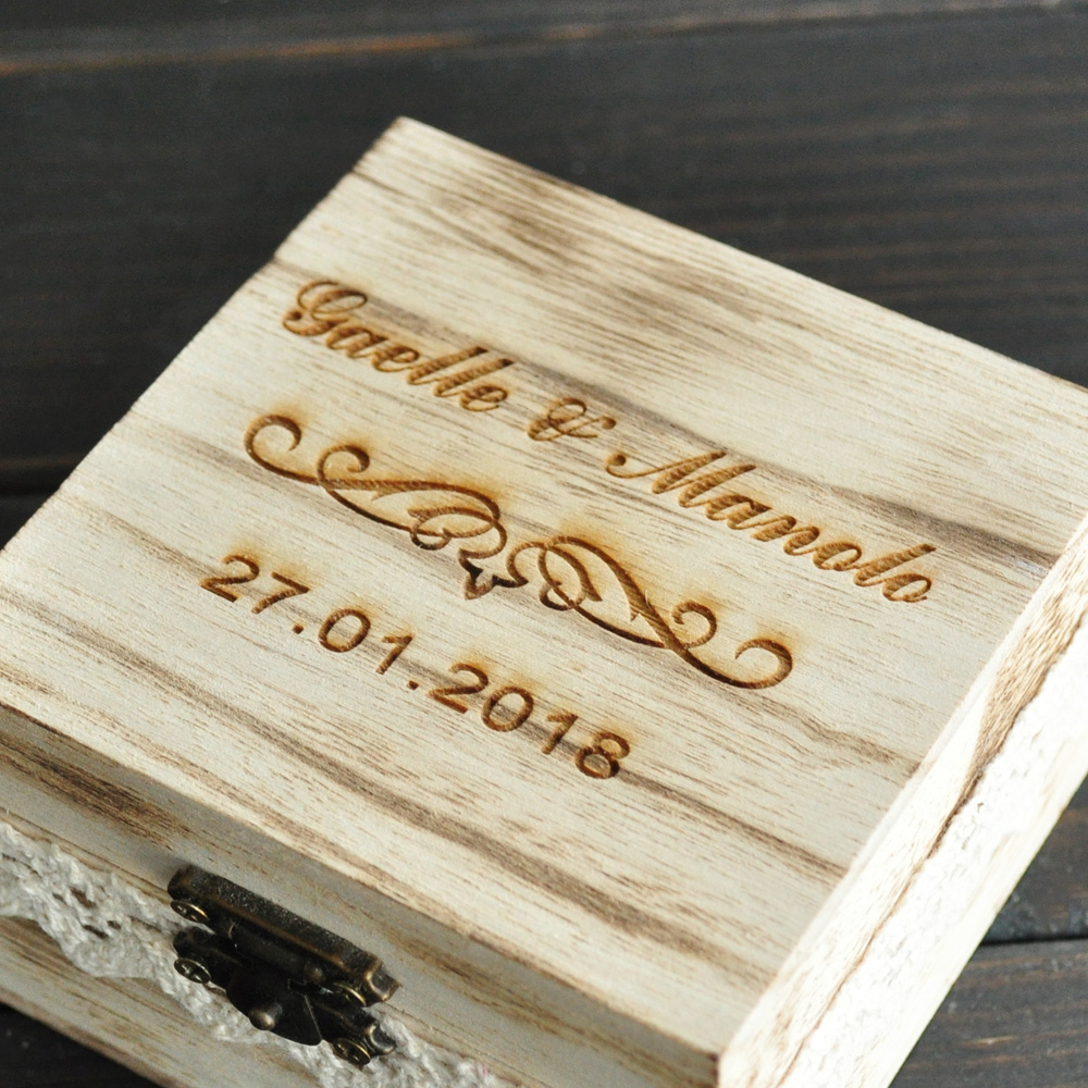 Custom Rustic Ring Box Engraved Wedding Ring Box Ceremony Ring Box