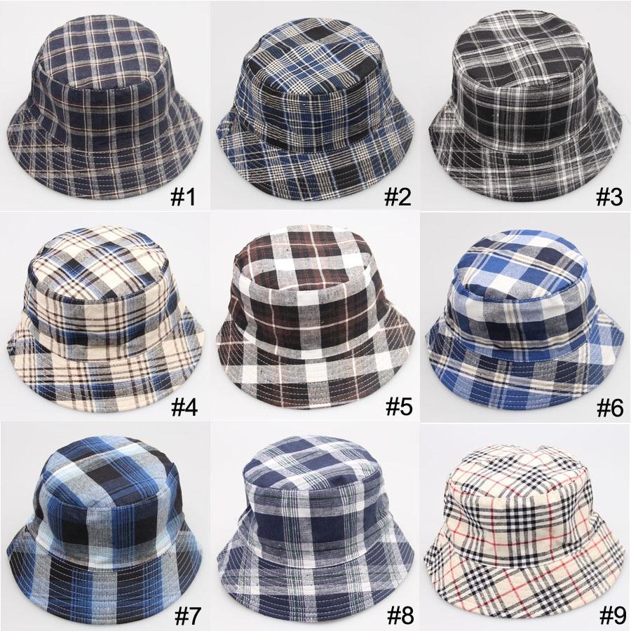 2015 New Plaid Fashion Bucket Hat Unisex Summer Beach Sun Floppy Hats Flat  Caps Bob Chapeau Gorras 2b870416924