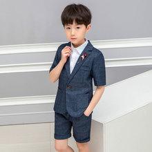 Summer Formal children suit Sets Flower boys short-sleeved Blazer Shorts Outfits Kids handsome Wedding Party performance Costume