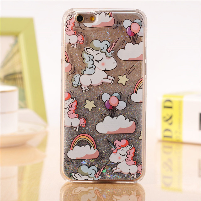Case Cover Lovely Unicorn Dynamic Liquid Bling Star