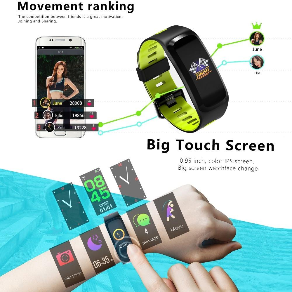F4 Smart bracelet Coeur taux tracker Sang pression Remise En Forme de l'oxygène bracelet Hommes IP68 Étanche GPS Smart montre électronique hommes