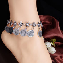 2018 Women Coin Anklets Vintage Ankel Bracelets Silver Chain Anklets Jewelry Barefoot Summer Feet Jewellery bracelet cheville(China)