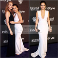 2016 New Fashionable Selena Gomez White Mermaid Celebrity Dresses Deep V-Neck Backless Sexy Long Evening Gowns Prom Party Dress