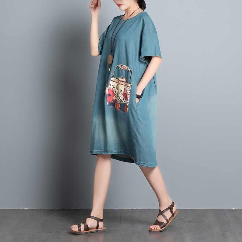 Джинсовое винтажное цветочное женское повседневное свободное летнее платье средней длины, элегантная одежда 2019, женские платья, сарафан