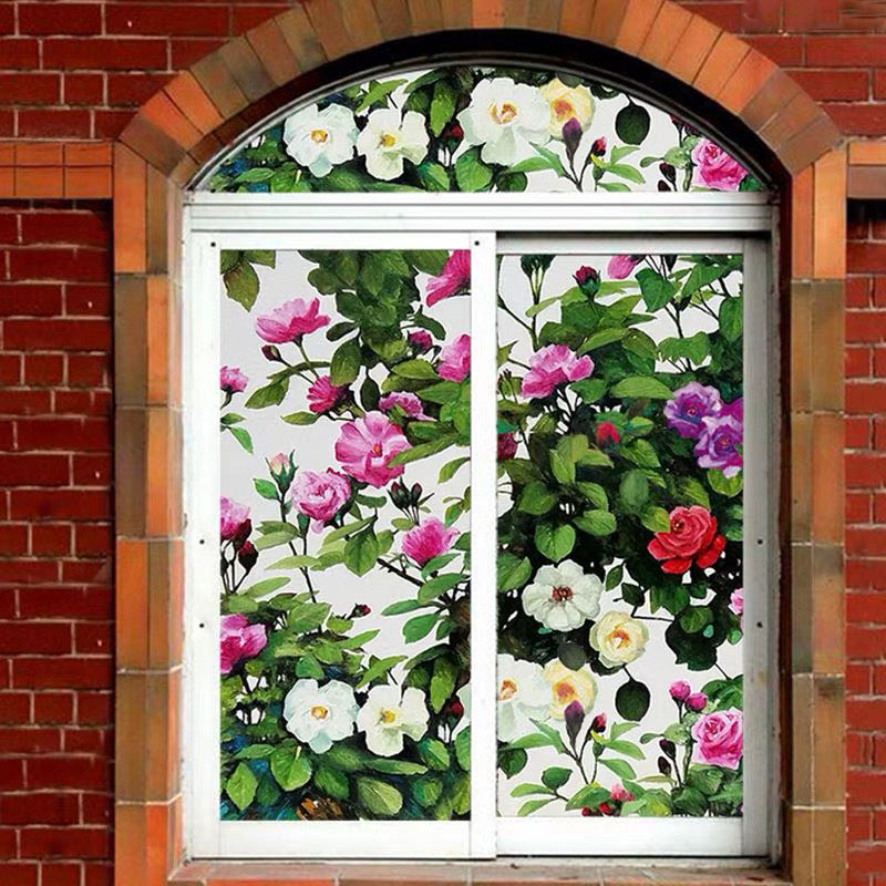 Painting Flowers Window Films Frosted Stained Static Cling decorative Glass films home door Stickers 40/45/50/60/70/80*100cm