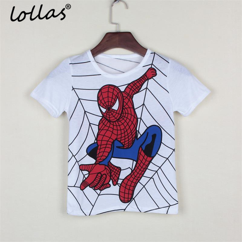 Lollas New Summer Boys T shirt Popular Hero Cotton Short-sleeved T-shirt Printing Cartoon Gray Kids Boys Childs Clothes